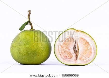 fresh green pomelos and pomelo peeled on white background healthy fruit food isolated