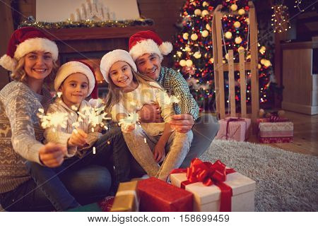 happy family time -family celebrating Christmas 