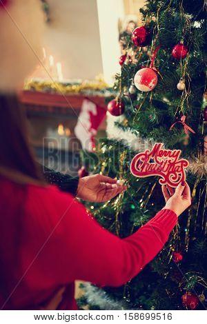 Preparing Christmas tree for Christmas time, concept