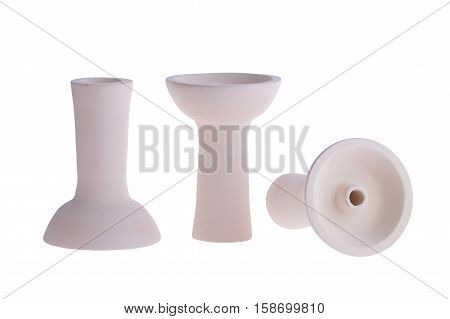 hookah bowl for tobacco shisha three pottery with long legs, three white clay products, one vessel stands right and second reversed and third lays