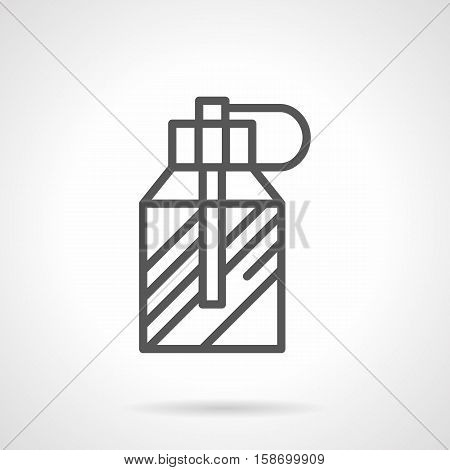 Transparent glass bottle with spray. Male perfumes. Perfumery and cosmetic products for web marketing. Gift for men. Single black simple line design vector icon.