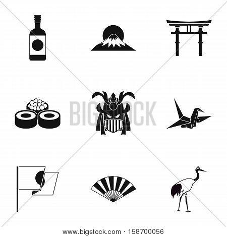 Tourism in Japan icons set. Simple illustration of 9 tourism in Japan vector icons for web