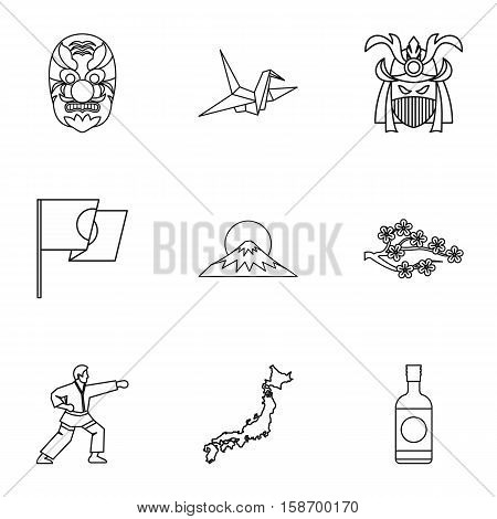 Attractions of Japan icons set. Outline illustration of 9 attractions of Japan vector icons for web