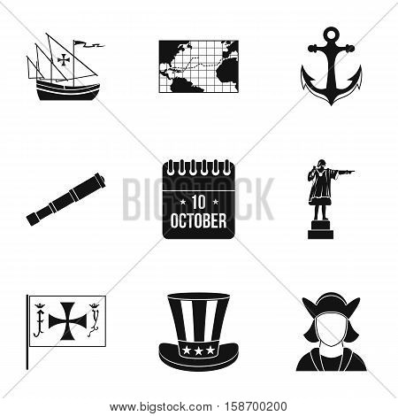 Discovery of America icons set. Simple illustration of 9 discovery of America vector icons for web