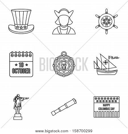 Columbus Day icons set. Outline illustration of 9 columbus Day vector icons for web