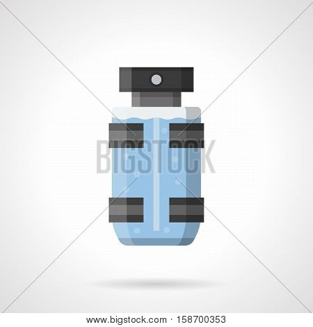 Spray transparent bottle of perfume with blue liquid. Cologne for men, male cosmetics. Modern elegant gift and trendy product in stores. Flat color style vector icon.