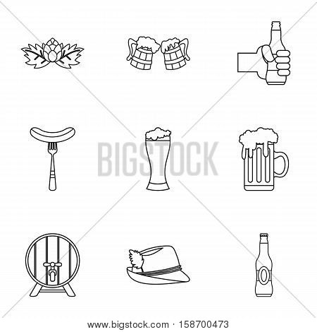 Beer fest icons set. Outline illustration of 9 beer fest vector icons for web