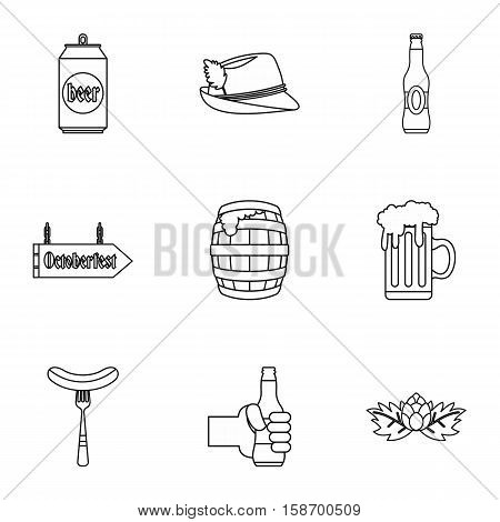 Alcoholic beverage icons set. Outline illustration of 9 alcoholic beverage vector icons for web