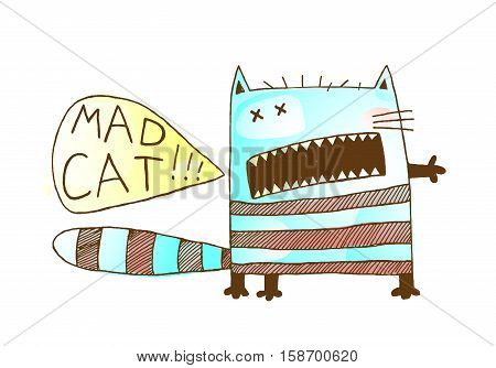 Fun eccentric animal cartoon print design of bizzare kitten shouting speech bubble. Vector illustration.