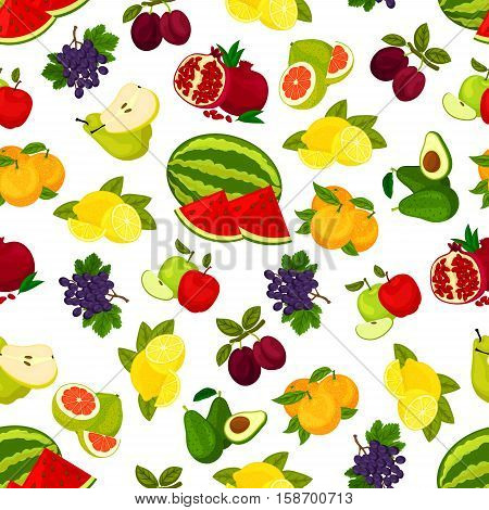 Fruits seamless pattern. Fresh juicy bright grape, watermelon, orange, avocado and pomegranate, plum and citrus lemon, pomelo and apple, grape, pear. Vector background of whole and sliced fruits pattern