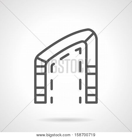 Architectural oblique arch, elements of bridge and buildings. Asymmetric shape of frame. Modern decoration exterior, creative house interior. Single black simple line design vector icon.