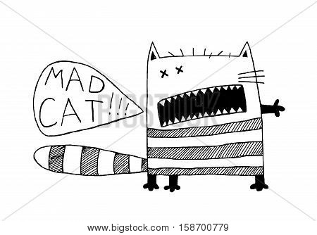 Fun fancy eccentric animal cartoon print design of bizzare kitten shouting speech bubble. Vector illustration.