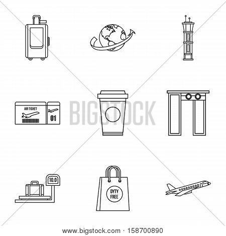 Airport check-in icons set. Outline illustration of 9 airport check-in vector icons for web