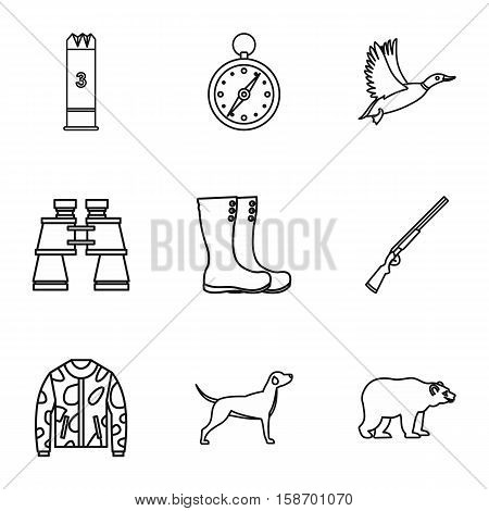 Hunting in forest icons set. Outline illustration of 9 hunting in forest vector icons for web