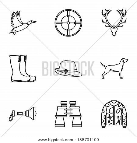 Hunting of animals icons set. Outline illustration of 9 hunting of animals vector icons for web