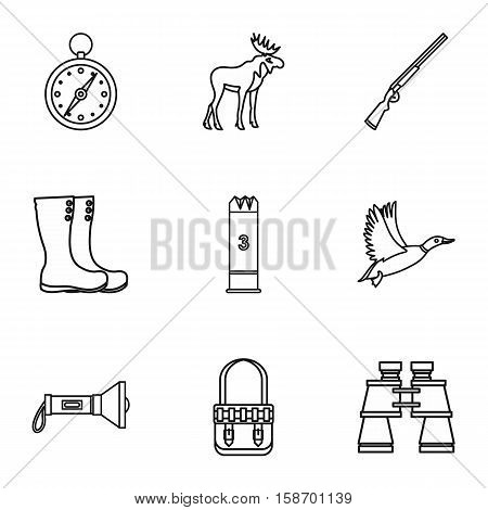 Bird hunting icons set. Outline illustration of 9 bird hunting vector icons for web