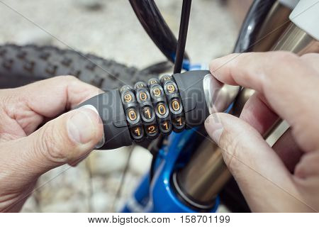 Combination lock bicycle accessory for bike protection and security