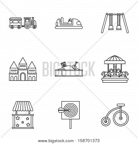 Entertainment for children icons set. Outline illustration of 9 entertainment for children vector icons for web