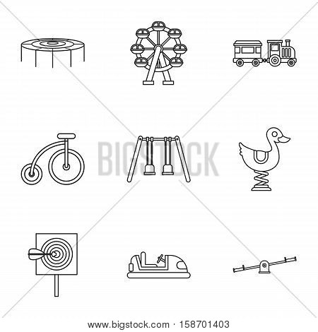 Swing icons set. Outline illustration of 9 swing vector icons for web