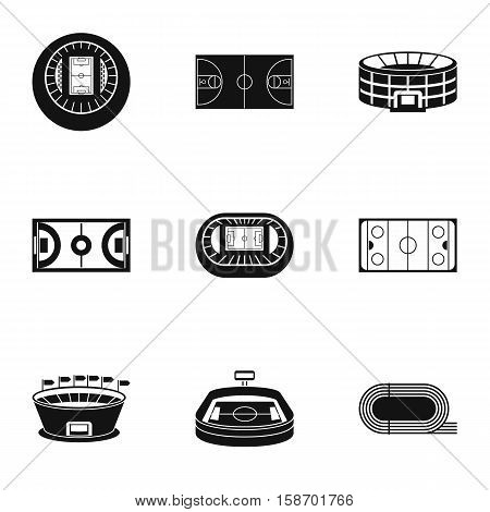 Sports stadium icons set. Simple illustration of 9 sports stadium vector icons for web