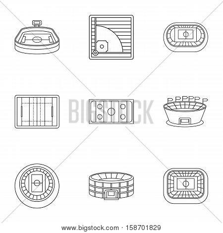 Stadium icons set. Outline illustration of 9 stadium vector icons for web