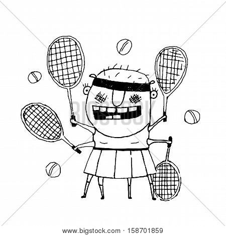 Fun cartoon sporty girl tennis player freaky style outline black and white drawing. Vector illustration