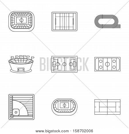 Sports complex icons set. Outline illustration of 9 sports complex vector icons for web