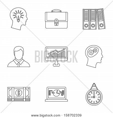 Firm icons set. Outline illustration of 9 firm vector icons for web