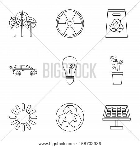 Conservation icons set. Outline illustration of 9 conservation vector icons for web