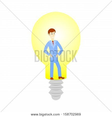 Business man cartoon character have an idea for startup and in lamp. Selling startup ideas.