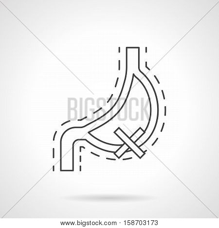 Abstract symbol of damaged human stomach. Effects of bad habits for internal organs. Harm of smoking, alcohol, fast nutrition for digestive system. Flat line vector icon.