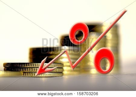 Red percent sign on a background of money . The concept of changes in Bank interest rates .