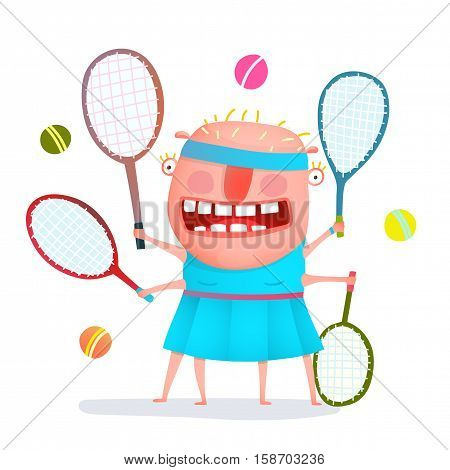 Fun cartoon sporty girl tennis player freaky style colorful drawing. Vector illustration