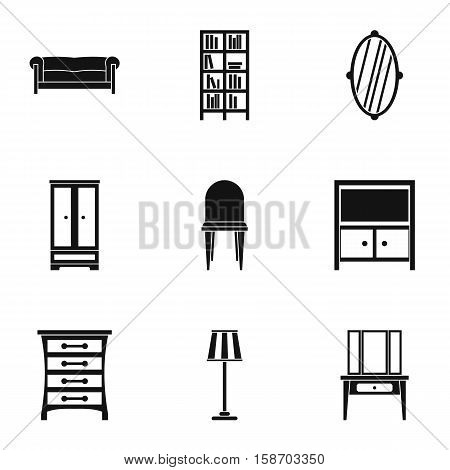 Home furnishings icons set. Simple illustration of 9 home furnishings vector icons for web