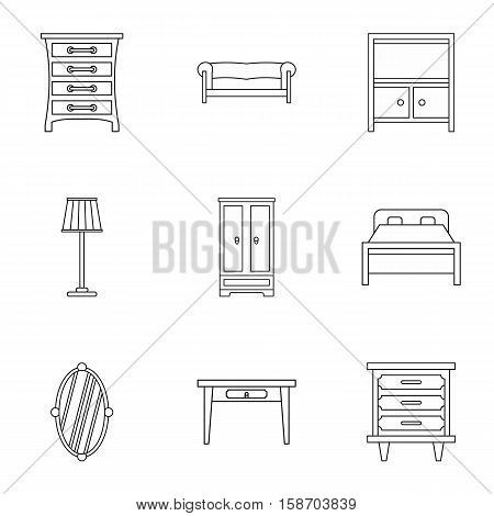 Furniture icons set. Outline illustration of 9 furniture vector icons for web