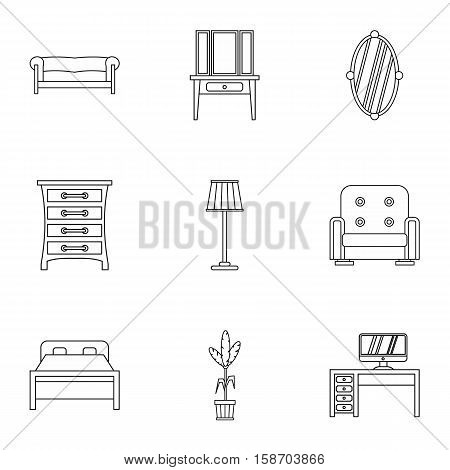 Home environment icons set. Outline illustration of 9 home environment vector icons for web