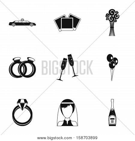 Marriage icons set. Simple illustration of 9 marriage vector icons for web