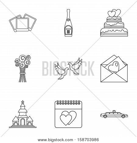 Marriage icons set. Outline illustration of 9 marriage vector icons for web
