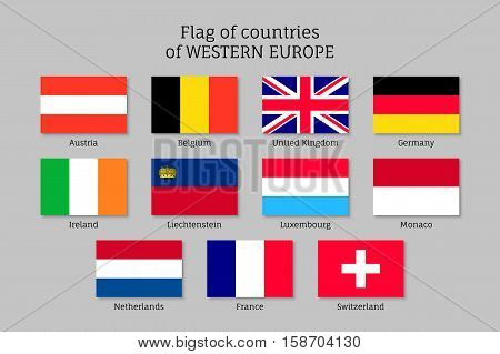 Set of flags of Western Europe countries. 11 ensigns of Western Europe member states. Vector icons on gray background.