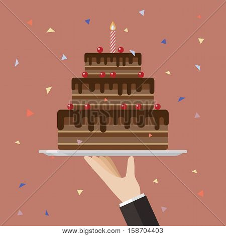 Waiter serving a chocolate cake. Flat style design vector illustration