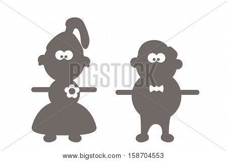 illustration of cartooon groom and bride silhouettes isolated on white background
