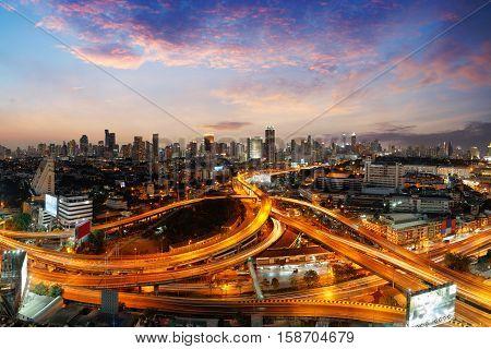 Bangkok cityscape. Bangkok night view in the business district Highway and main traffic in Bangkok Bangkok Thailand