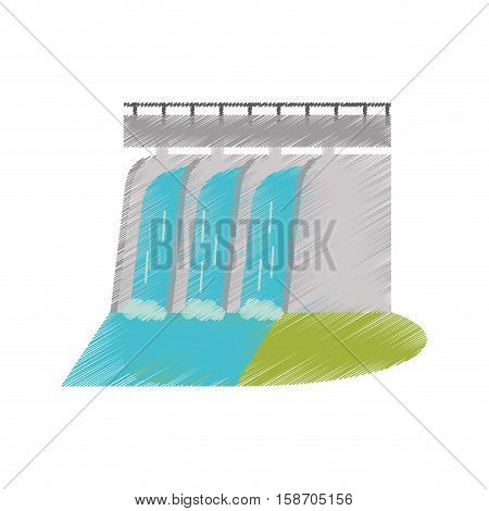 hydroelectric station plant water dam ed vector illustration eps 10