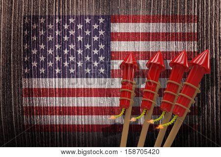 3D Rockets for fireworks against composite image of usa national flag