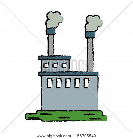 drawn manufactory industry producing gas vector illustration eps 10