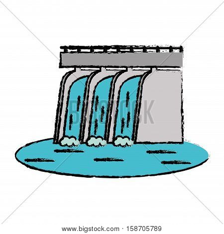 drawn hydroelectric station plant water dam vector illustration eps 10