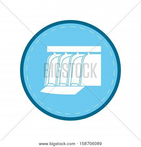 hydroelectric station plant water dam blue circle vector illustration eps 10