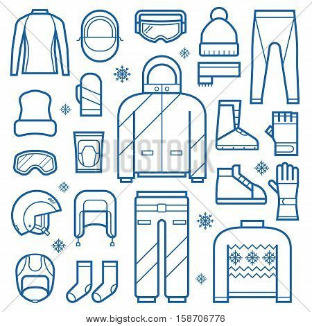 Winter clothes and accessories for active lifestyle. Snowboard jacket, helmet, ski goggles. Skiing and snowboarding winter sportswear and warm dress. Winter fun and activity clothing set in thin line.