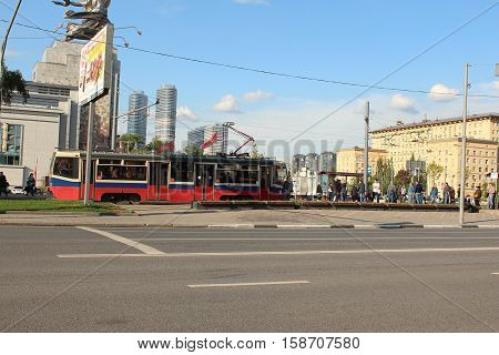 Russia, Moscow 25 May 2016, The Tram rides on the street Boris Galushkina in Moscow