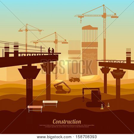 Large construction site vector bridge construction with cranes machinery. Professional modern large scale construction bridge industry background vector